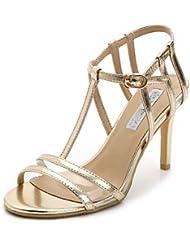 CBIN&HUA Zapatos de mujer-Tacón Stiletto-Tacones / Punta Abierta-Sandalias-Vestido / Casual / Fiesta y Noche-Semicuero-Plata / Oro / Champán , golden , us7.5 / eu38 / uk5.5 / cn38