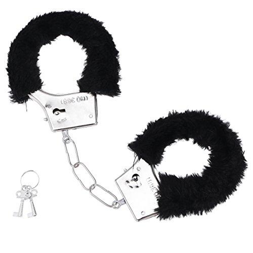 (LUOEM Einstellbare Plüsch Handschellen Vergnügen Spielzeug Handschellen mit Schlüssel Polizeirolle Spielen Spielzeug Manschetten für Paare Rollenspiel Spiel Kostüm Zubehör (Schwarz))