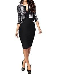 Miusol® Damen Cocktailkleid Mit 3/4 Arm Hahnentritt Muster Reissverschluss vorne Business Sommer kleid Abendkleid Schwarz EU 36-46