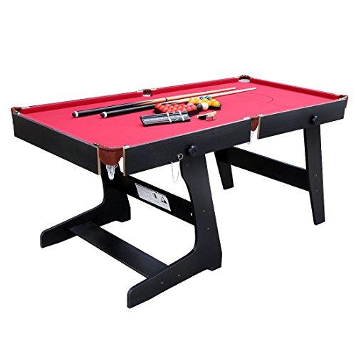 HLC 177.5*88*79 CM Snooker Snookertisch Billardtisch (Rot)