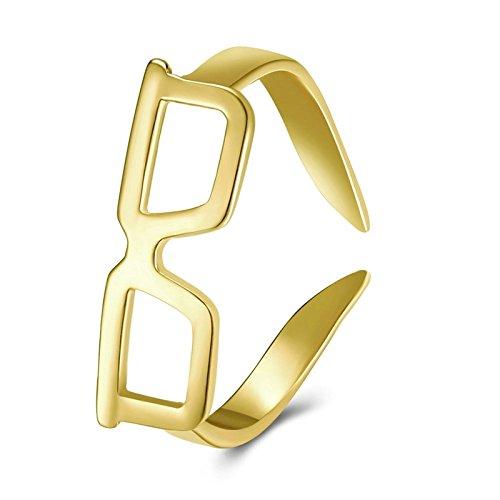 Bishilin Vergoldet Damen Ring Gold Offener Ring Brillengestell Einstellbar Trauring Hochzeitsringe Freundschaft Ring Gold Größe 57 (18.1)
