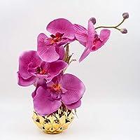 Centro de mesa pequeño con orquídeas rosa oscuro en un jarrón redondo de color dorado - decoración de mesa con flores artificiales para Navidad