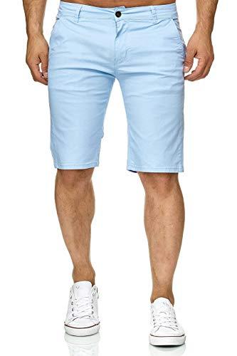 Herren Chino Shorts Capri Bermuda Kurze Sommer Hose Minimalist, Farben:Hellblau, Größe Shorts:W33