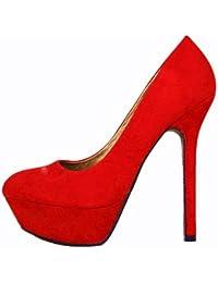 Damen Pumps High Heel Plateau Schuhe 10239