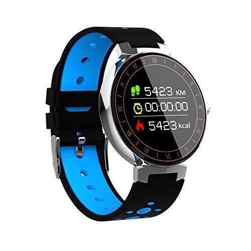 Orologio Sportivo Grande Tondo Unisex L8,OLED Touch Braccialetto sport Fitness Activity Tracker Bracciale Impermeabile IP68 con Pressione Arteriosa/Cardiofrequenzimetro Monitor Del Sonno (Blu)
