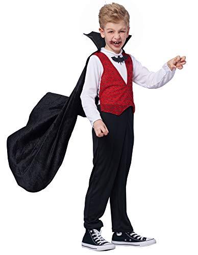 IKALI Jungen Vampir Kostüm, Kinder Halloween Dracula Kap Verkleidung - Besten Kinder Buch Charaktere Kostüm