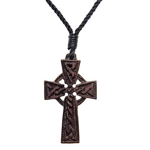 81stgeneration collana con pendente legno marrone intagliato irlandese croce celtica