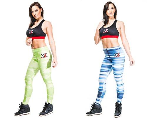 "Met-X Pro Womens Skin Tight-Leggings Uwear-Pantaloni a compressione Verde neon MEDIUM 28""-30"""