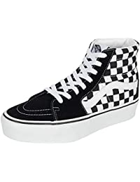Vans Women's Sk8 Hi Platform 2.0 Checkerboard Suede/Canvas Trainer True White