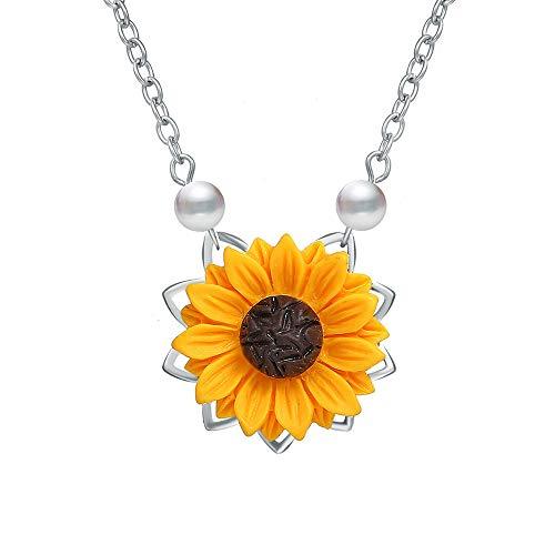 Ellepigy Kreative Persönlichkeit Halskette Damen Sonnenblume Anhänger Pullover Kette Halskette Zubehör, Silber