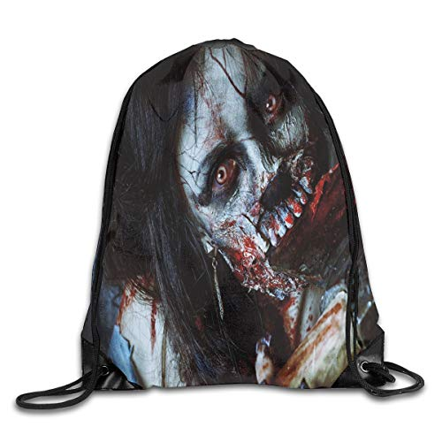 GONIESA Fashion New Drawstring Backpacks Bags Daypacks,Scary Dead Woman with A Bloody Axe Evil Fantasy Gothic Mystery Halloween Picture,5 Liter Capacity Adjustable for Sport Gym Traveling (Evil Dead Girl Scary)