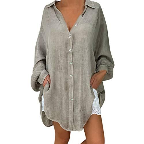 kolila Damen Leinenhemd Tunika Plus Size Loose Button Down Revers Lässige Langarmshirts Tops Oberteile Shirt Bluse Sleeveless Front Zip