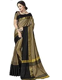 Indira Designer Women's Beige Color Art Cotton Silk Saree With Blouse