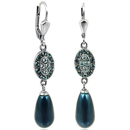 Jugendstil Perlen-Ohrringe Kristalle von Swarovski Silber Blau Petrol NOBEL
