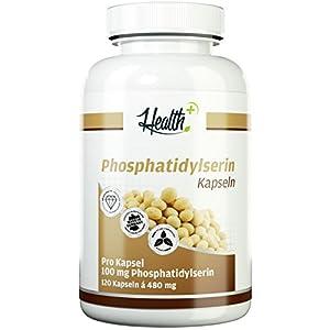 HEALTH+ Phosphatidylserin – 120 Kapseln, 100mg reines Phosphatidylserin-Pulver pro Kapsel, Anti-Stress Supplement, hochwertiges Gehirnnährstoff wichtig für Gedächtnis- & Konzentrationsfähigkeit