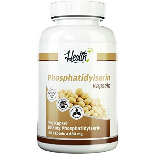 HEALTH+ Phosphatidylserin - 120 Kapseln, 100 mg reines Phosphatidylserin-Pulver pro Kapsel, ideal zur Nahrungsergänzung, wichtiger Bestandteil der Zellmembranen, Made in Germay (Lipid Pro)