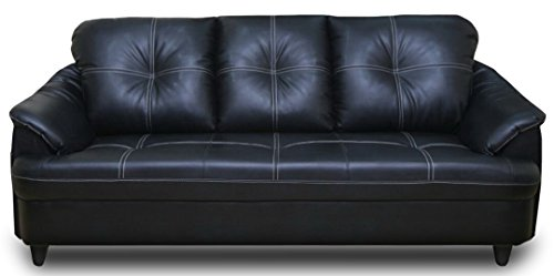 Adorn India Webster Three Seater Sofa (Black)