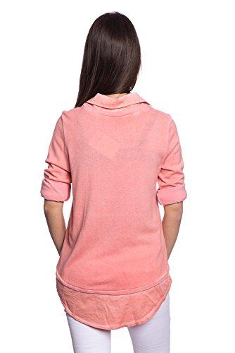 Abbino 8197-10 Shirts Tops - Made in Italy - 8 Farben - Übergang Frühling Sommer Herbst Shirts Fashion Lässig Langarm Baumwolle Süße Sexy Sale Equemer Freizeit Elegant - One size Koralle Rot