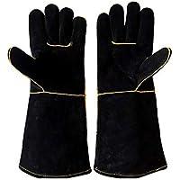 RFVBNM guantes de Soldadura de Cuero Barbacoa Horno microondas Aislamiento Exterior Seguro de Trabajo Guantes Guantes de Alta Temperatura, Negro