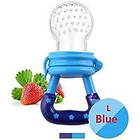 Chupete de bebé, Mordedor Juguetes alimentos Frescos Frutas Toddler Nibbler Seguridad Alimentador Antiahogo y Tetina Extra de Silicona para Bebé Azul L