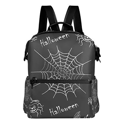 Rucksack Rucksack Hexe Kürbisse Spinnen Fledermäuse Lächeln Reise Kindertagesstätte Perfekt für die Schule für Teenager-Jungen Mädchen