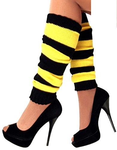 krautwear Damen Beinwärmer Stulpen Legwarmers Overknees gestrickte Strümpfe 80er Jahre 1980er Jahre, 1xschwarz/Gelb, Einheitsgröße
