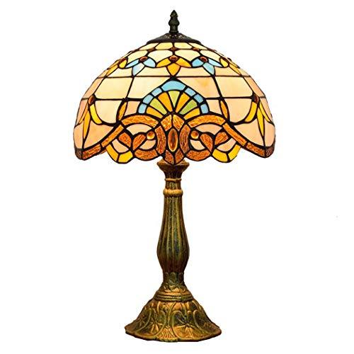 JUNJUNA 12 Pulgadas lámpara de sobremesa Estilo Tiffany, decoración de Dormitorio Retro...