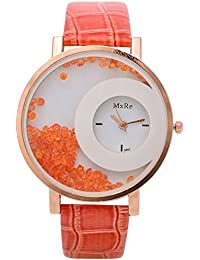 Om Analog Moving Diamond Round Dial Women's Wrist Watch (Orange-White)