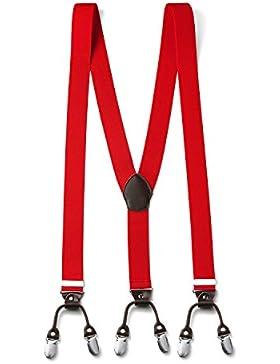 FydRise Tirantes Y-Forma con 6 Clips Hombre Clásico Elásticos Ancho 35mm Espalda Cuero Marrón Adjustable