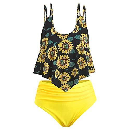 AIni Sale Damen Bikini, Sexy Bademode Sommer Elegant Tankinis Bikini Set Strandkleidung Badeanzüge Zweiteiliger Badeanzug Mit Rüschen Oben Und Hoch Tailliertem Bikini Unten (XXL,Gelb)