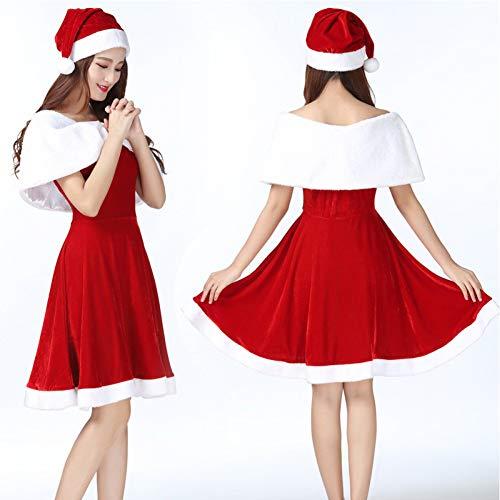 GSDZN - Weihnachten Freundin Geschenk,Weihnachtsmann Damen, Damen Santa Claus, Einschließlich Hüte Und Kleider, Tücher, L-XL,L
