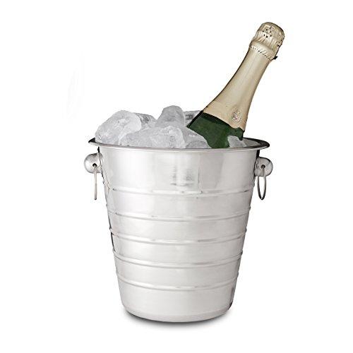 Relaxdays Sektkühler Edelstahl mit Griffen, Eiseimer für Wein & Champagnerflaschen, Party, Hochzeit, Ø 21,5 cm, Silber