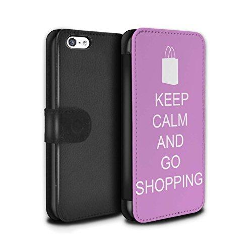 Stuff4 Coque/Etui/Housse Cuir PU Case/Cover pour Apple iPhone 5C / Pousser Moustache/Vert Design / Reste Calme Collection Faire du Shopping/Rose