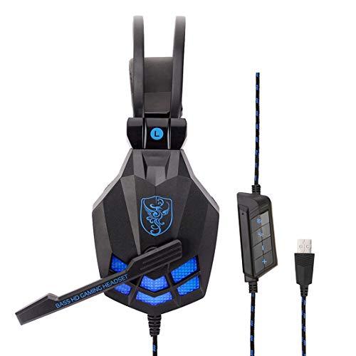 USB Gaming Headset für PS4 PC 7.1 Surround Sound Noise Cancelling(Schwarz)