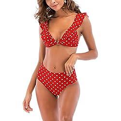 Beauty7 Mujer Traje de Baño de Dos Piezas Cintura Alta Retro Polka Dots Lunares Sexy Vintage Bikini con Volantes Set Swimwear