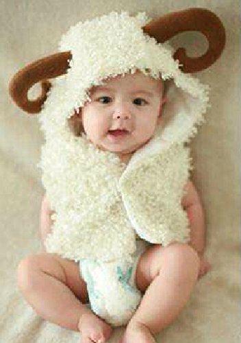 Cute Baby Newborn Infant handgefertigt Crochet Beanie Hat Schaf Stil Baby Kleidung fotografiert Zubehör, Cartoon Fashion Kinder Fotografie Requisiten Foto Requisiten Kostüm Kleidung tragen (geeignet für Babys 0–18Monate zu tragen)