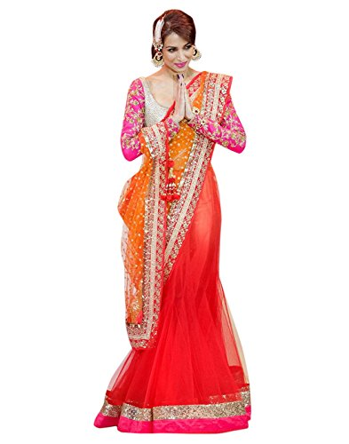 Alethia Enterprise Pink , Orange & Beige Color Net & Row Silk Embroidered Party Wear Saree with Blouse Piece-ALJ693SE313  available at amazon for Rs.2679