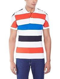 Striped Polo Orange & Blue.