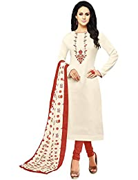 Applecreation Women's Cotton Silk Salwar Suits Material (Off-White_Salwar Suit_21DMK633_Free Size)