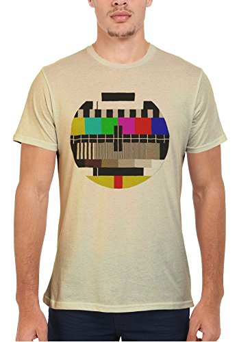 Test Pattern Vintage Retro TV Cool Funny Men Women Damen Herren Unisex Top T Shirt Sand(Cream)
