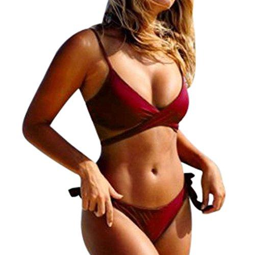 TUDUZ Damen Badeanzug Swimwear Bikini Push Up Bandeau Neckholder Strand Bademode Swimsuit Bandage Tankini Beachwer Bikini Oberteil und Triangel Shorts (Weinrot, Small)