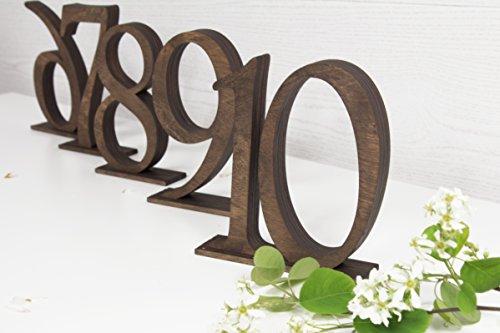Hölzerne Tisch Zahlen SET von 5 – Dunkelbraune Tischnummern - Rustikale Tischnummern - Hochzeit Tischnummern - Tischschilder - Hochzeit Tischdekoration