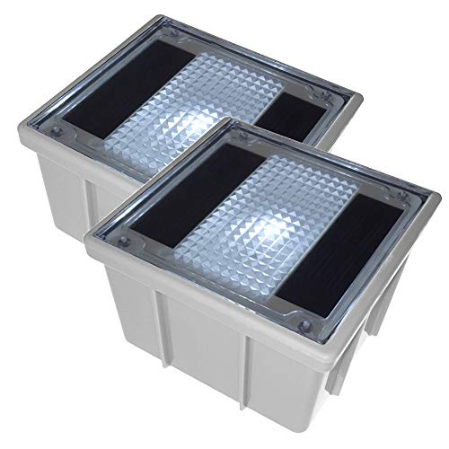Solar Pflastersteine 10x10cm mit weißer LED im 2er Set