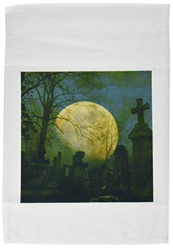 3dRose FL_44703_1 Vollmond auf Friedhof, gruselige Kunst, Halloween, Gartenflagge, 30,5 x 45,7 cm