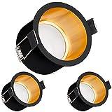 3er LED Einbaustrahler Set Schwarz/Gold mit LED GU10 Markenstrahler von LEDANDO - 5W - warmweiss - 120° Abstrahlwinkel - 35W Ersatz - A+ - LED Spot 5 Watt - Einbauleuchte LED rund