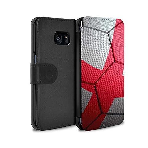 STUFF4 PU-Leder Hülle/Case/Tasche/Cover für Samsung Galaxy S7 Edge/G935 / England/Englische Muster / Fußball Nationen Kollektion