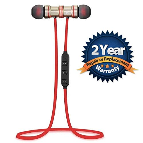 Quick Shop Bluetooth Magnetic Stylish Headset for Redmi, iPhone and Other Smartphones-Red
