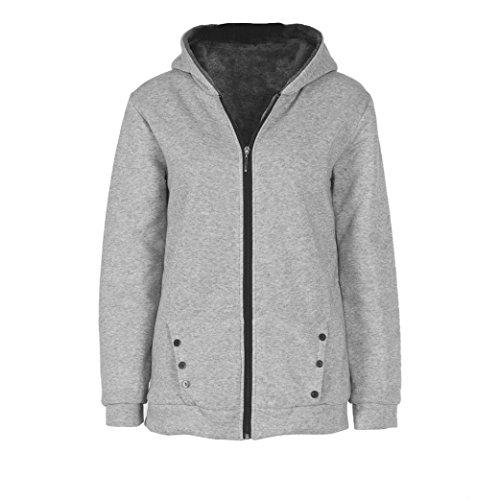 Ouneed® Overcoat Velours a Capuche Veste Fourre Interieux Gris