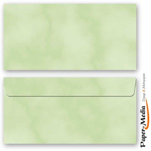 Motiv-Briefumschläge MARMOR GRÜN 10 DIN LANG (110x220 mm) Briefumschläge ohne Fenster, Selbstklebend mit Abziehstreifen