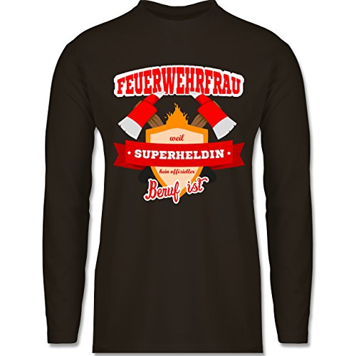 Feuerwehr - Feuerwehrfrau - weil Superheldin kein offizieller Beruf ist - Longsleeve / langärmeliges T-Shirt für Herren Braun
